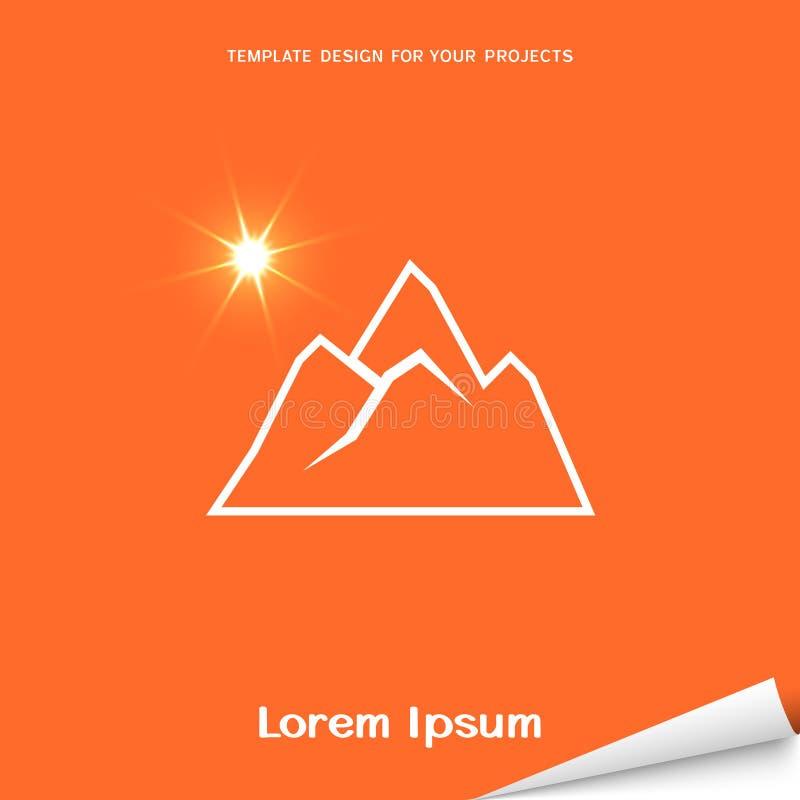 Bandera anaranjada con el icono de las montañas ilustración del vector