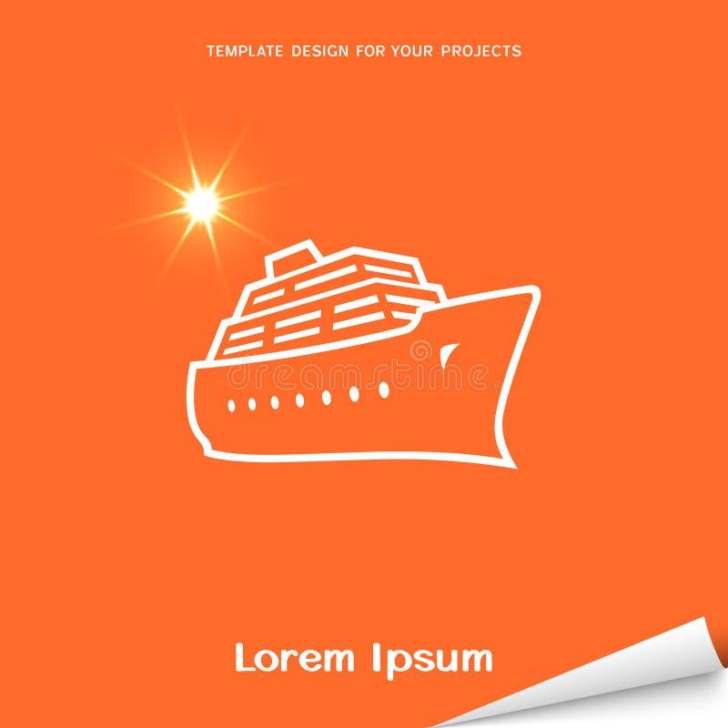 Bandera anaranjada con el icono del barco de cruceros ilustración del vector