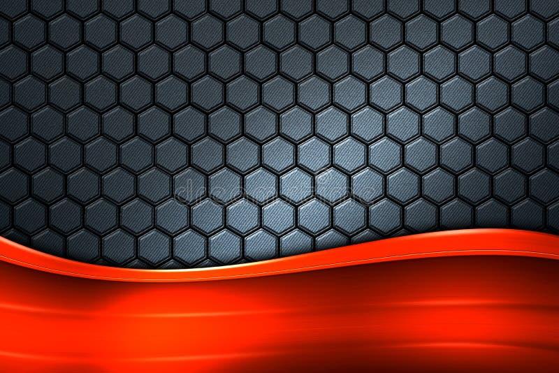 Bandera anaranjada en hexágono gris de la fibra de carbono libre illustration