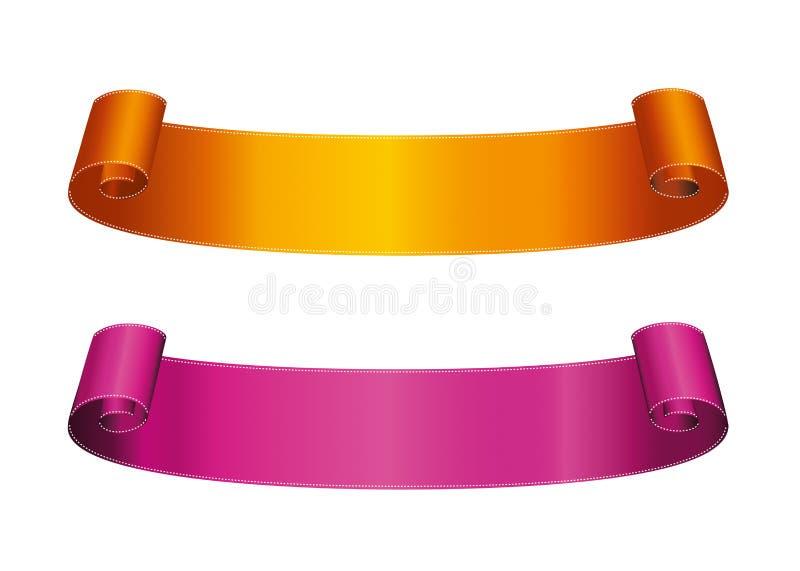 Bandera anaranjada y púrpura decorativa de la cinta con el espacio de la copia, aislador libre illustration