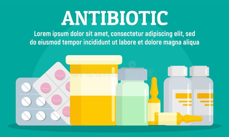 Bandera antibiótico del concepto de la farmacia, estilo plano stock de ilustración