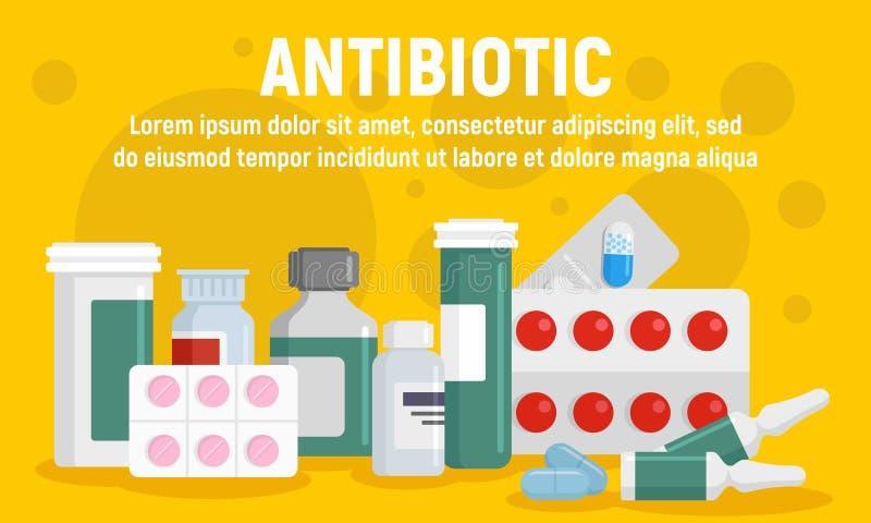 Bandera antibiótico del concepto, estilo plano libre illustration