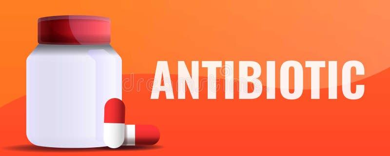 Bandera antibiótico del concepto del tarro, estilo de la historieta libre illustration