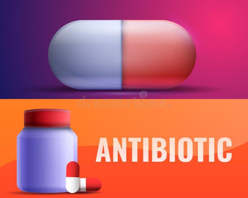 Bandera antibiótico fijada, estilo de la historieta stock de ilustración