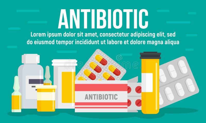 Bandera antibiótico médica del concepto, estilo plano libre illustration
