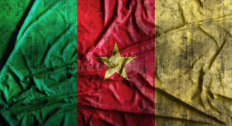 Bandera arrugada Grunge del Camerún representación 3d imagenes de archivo