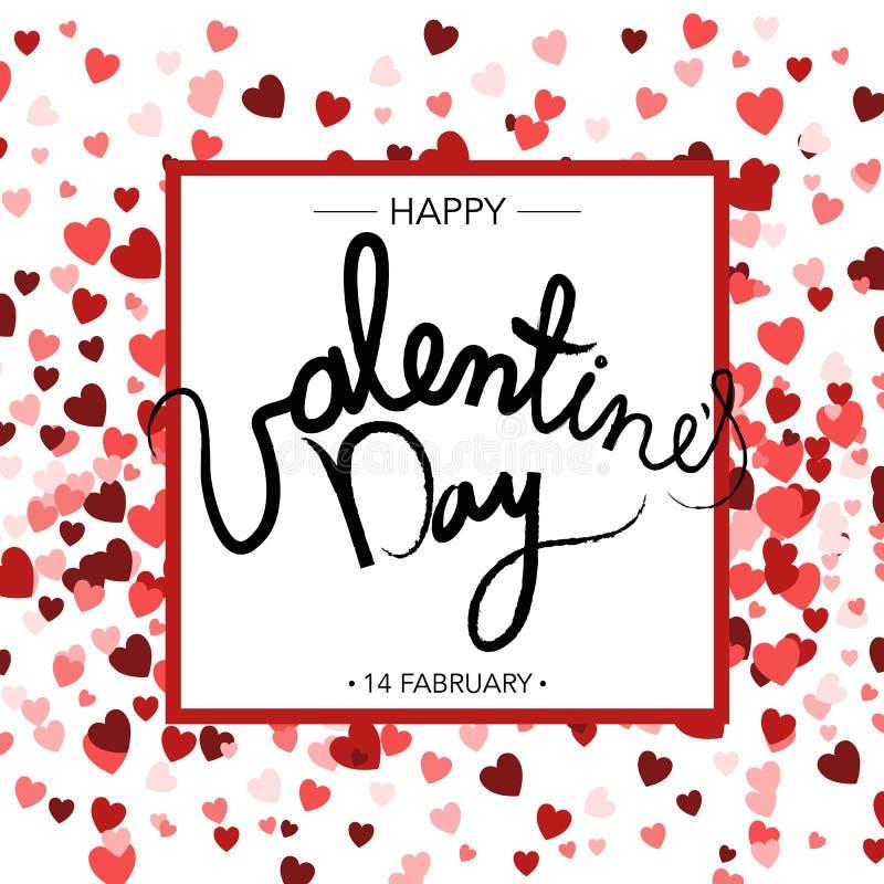 Bandera artística creativa del día del ` s de la tarjeta del día de San Valentín Letras dibujadas mano stock de ilustración