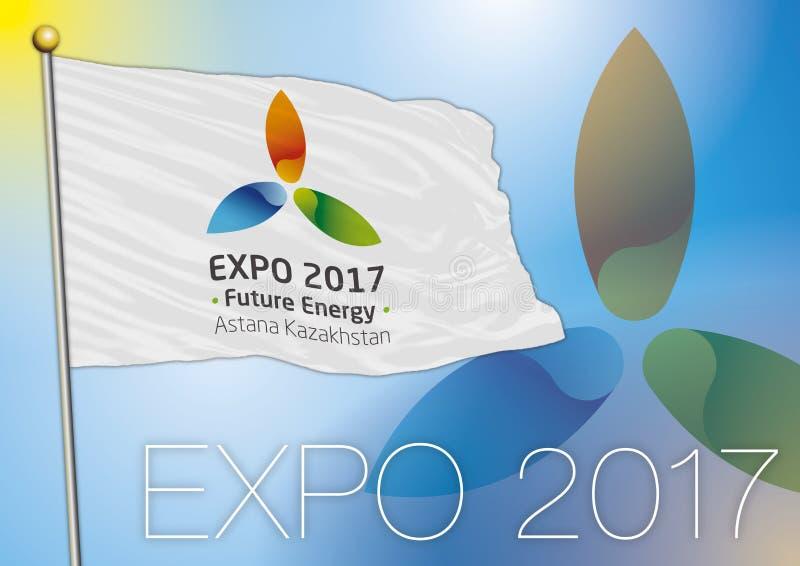 Bandera Astaná de la expo 2017 stock de ilustración