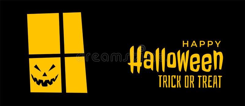 Bandera asustadiza de Halloween con la ventana de la casa y la cara de risa del fantasma libre illustration