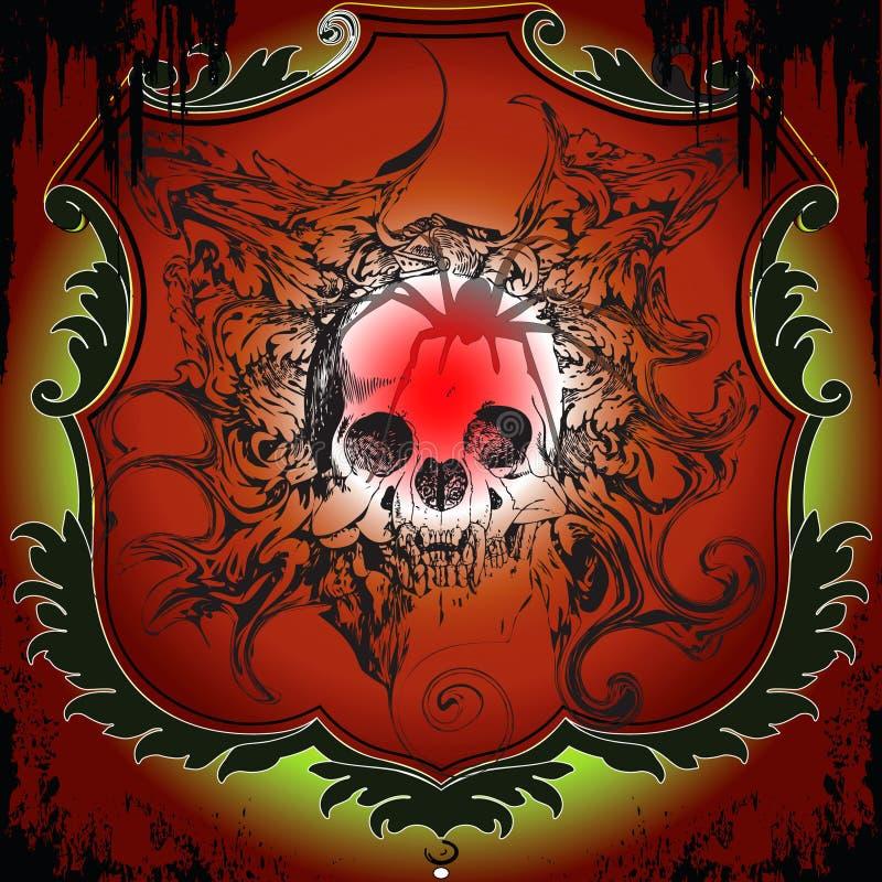 Bandera asustadiza del cráneo stock de ilustración