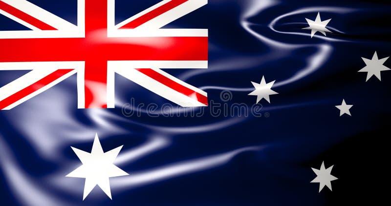 Bandera australiana que agita el ejemplo australiano de la bandera 3d calidad 4K stock de ilustración
