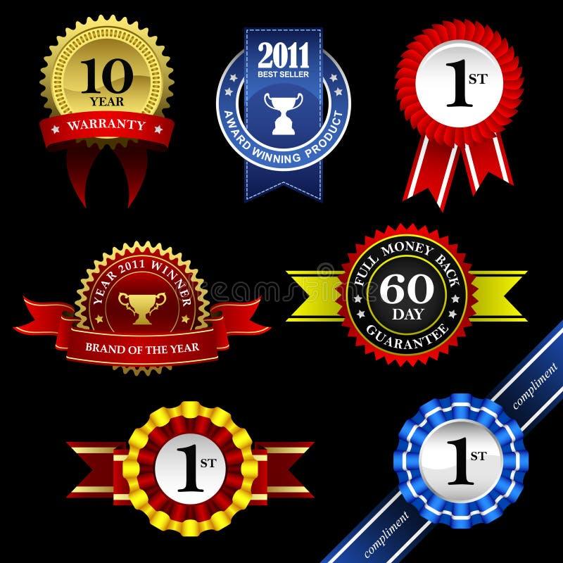 Bandera Awar de la medalla del trofeo de la divisa del rosetón de la cinta del sello ilustración del vector