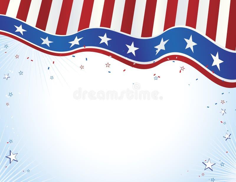 Bandera azul blanca roja con las estrellas ilustración del vector