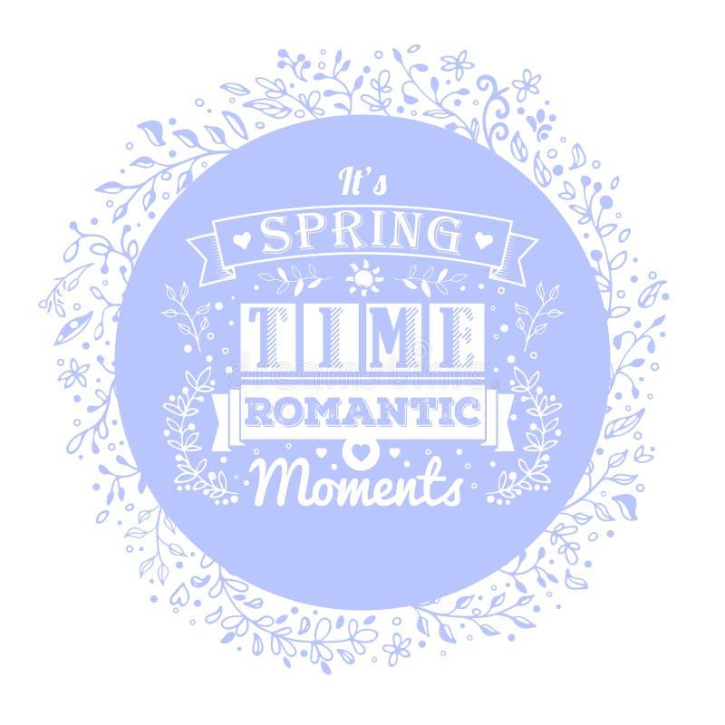 Bandera azul con los ornamentos de la flor y las letras de la tipografía del vintage libre illustration