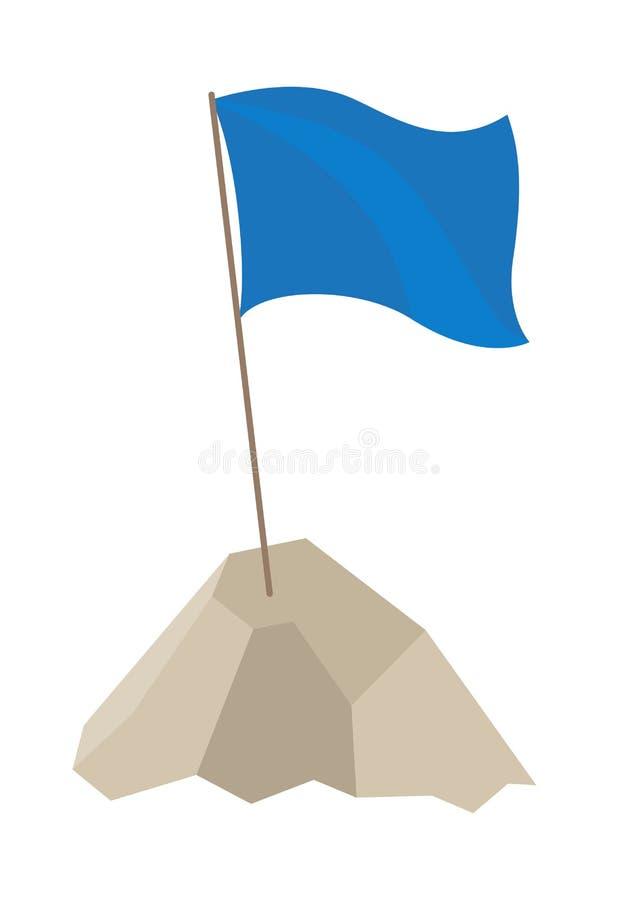 Bandera azul con poste largo en el ejemplo del vector stock de ilustración