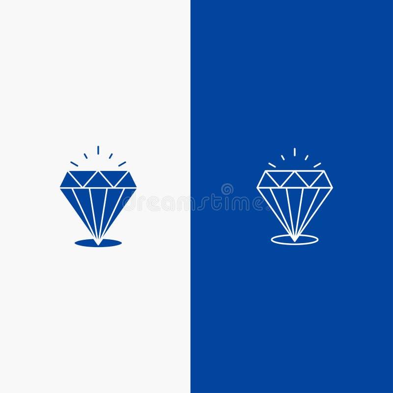 Bandera azul de bandera del brillo, costoso, de piedra de la línea y del Glyph del icono sólido del diamante, del icono sólido az ilustración del vector