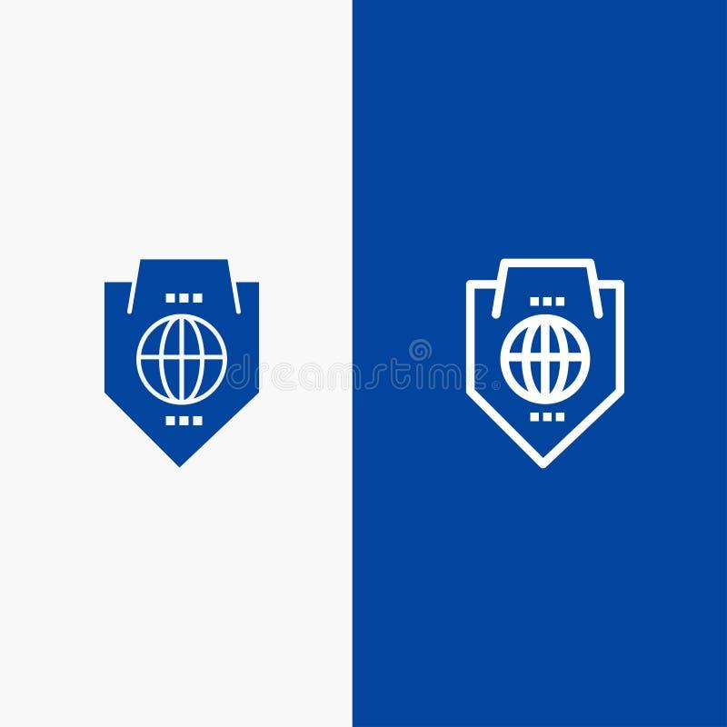 Bandera azul de bandera del icono sólido del acceso, del mundo, de la protección, del globo, de la línea del escudo y del Glyph d stock de ilustración