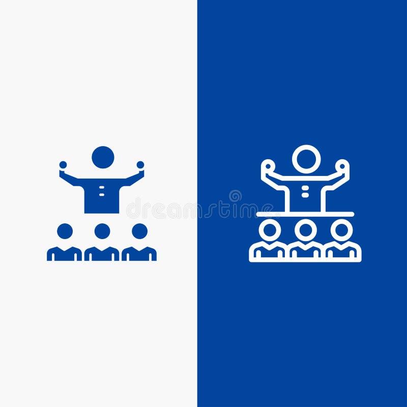 Bandera azul de bandera del icono sólido anime, del crecimiento, del mentor, del Mentorship, de Team Line y del Glyph del icono s libre illustration
