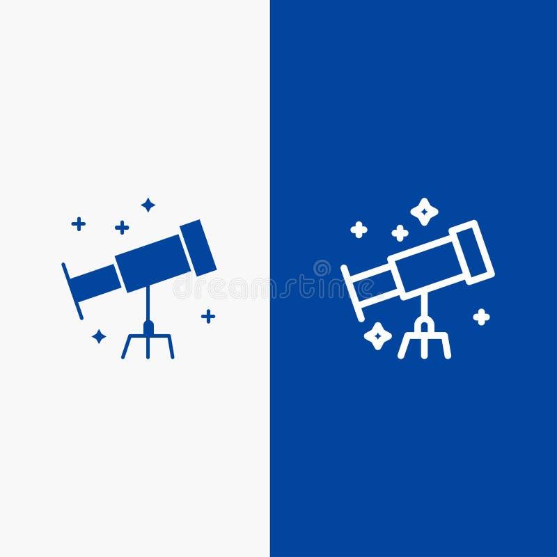 Bandera azul de bandera del icono sólido del astronauta, del espacio, de la línea del telescopio y del Glyph del icono sólido azu ilustración del vector