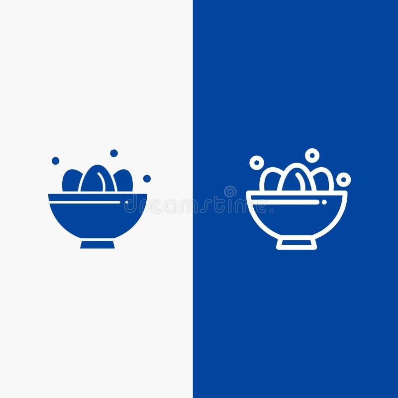 Bandera azul de bandera del icono sólido del cuenco, de la celebración, de Pascua, del huevo, de la línea de la jerarquía y del G ilustración del vector