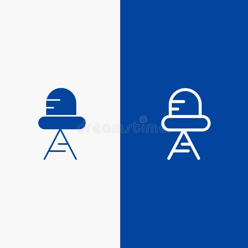 Bandera azul de bandera del icono sólido del diodo, de la línea llevada, ligera y del Glyph del icono sólido azul de la línea y d ilustración del vector