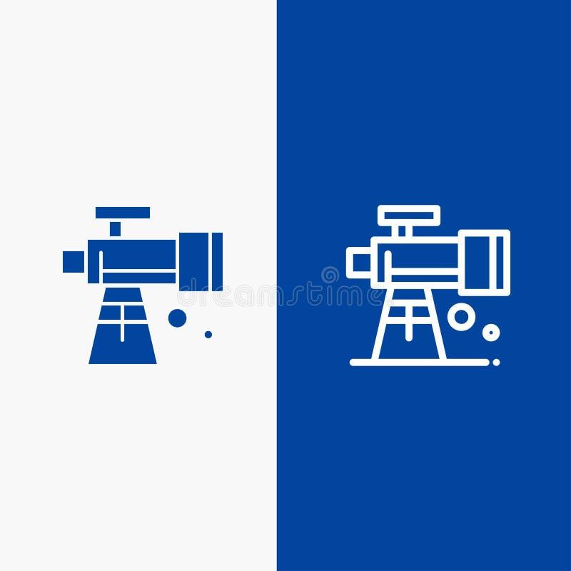 Bandera azul de bandera del icono sólido de la astronomía, del alcance, del espacio, de la línea del telescopio y del Glyph del i stock de ilustración