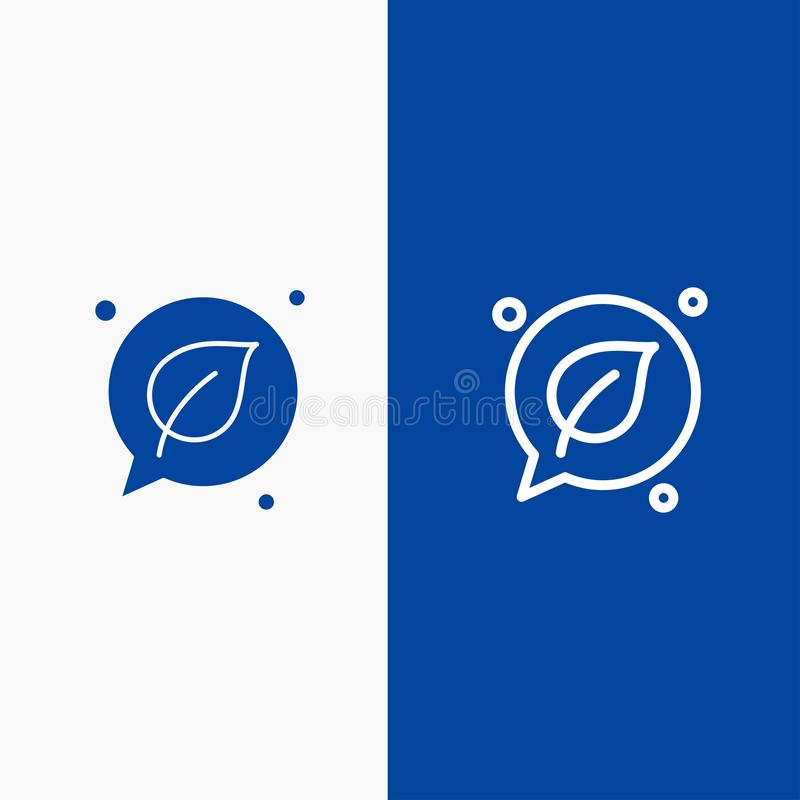 Bandera azul de bandera del icono sólido de la charla, del verde, de la hoja, de la línea de la reserva y del Glyph del icono sól libre illustration