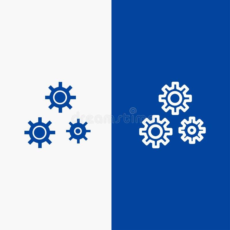 Bandera azul de bandera del icono sólido de la configuración, de los engranajes, de las preferencias, de la línea de servicio y d ilustración del vector
