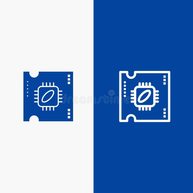 Bandera azul de bandera del icono sólido de la CPU, del microchip, del procesador, del procesador Chip Line y del Glyph del icono libre illustration