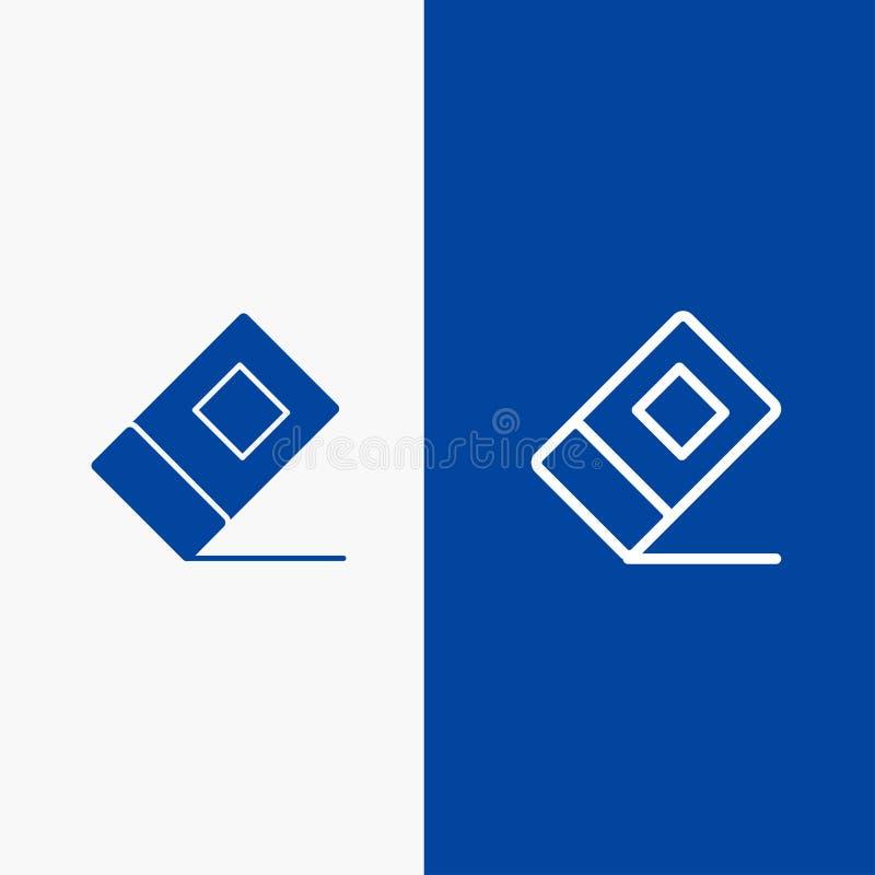 Bandera azul de bandera del icono sólido de la educación, del borrador, de la línea inmóvil y del Glyph del icono sólido azul de  libre illustration