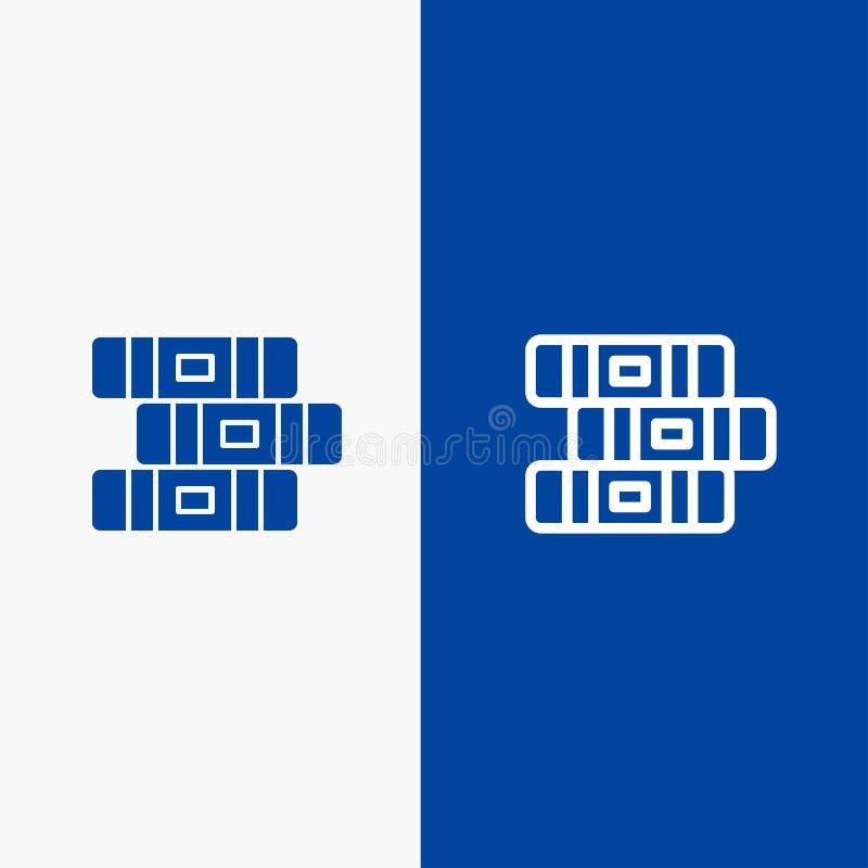 Bandera azul de bandera del icono sólido de la educación, del cuaderno, de la línea inmóvil y del Glyph del icono sólido azul de  stock de ilustración