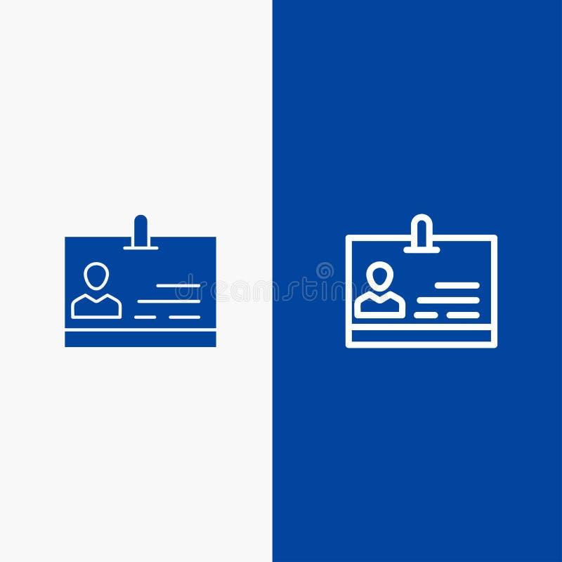 Bandera azul de bandera del icono sólido de la identificación, de la tarjeta, de la identidad, de la línea de la insignia y del G ilustración del vector