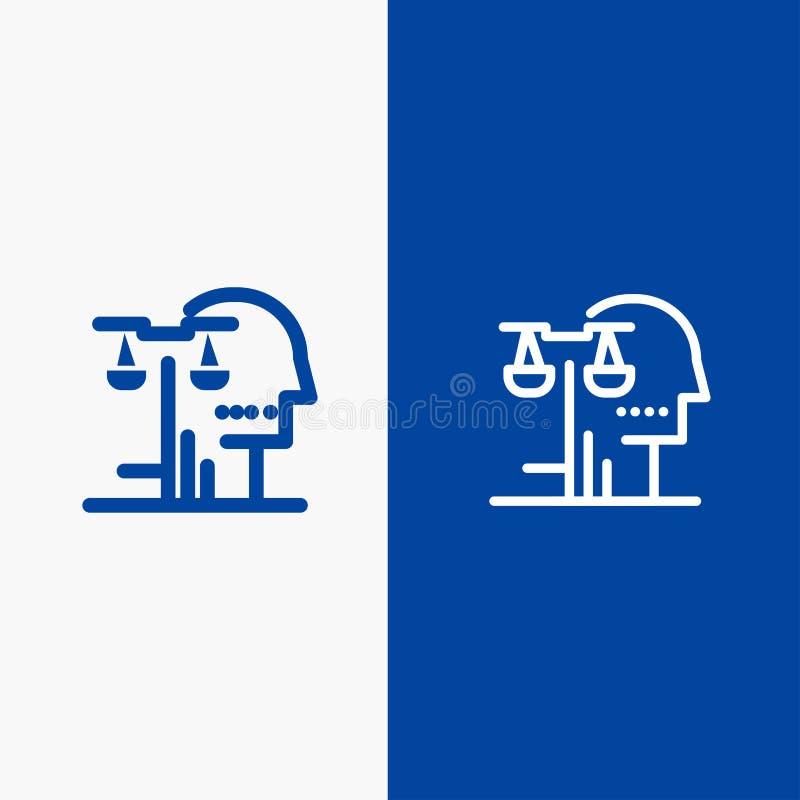 Bandera azul de bandera del icono sólido de la opción, de la corte, del ser humano, del juicio, de la línea de la ley y del Glyph ilustración del vector