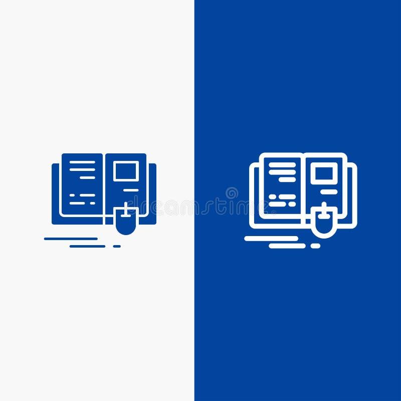 Bandera azul de bandera del icono sólido del libro, de la educación, del conocimiento, de la línea del ratón y del Glyph del icon stock de ilustración