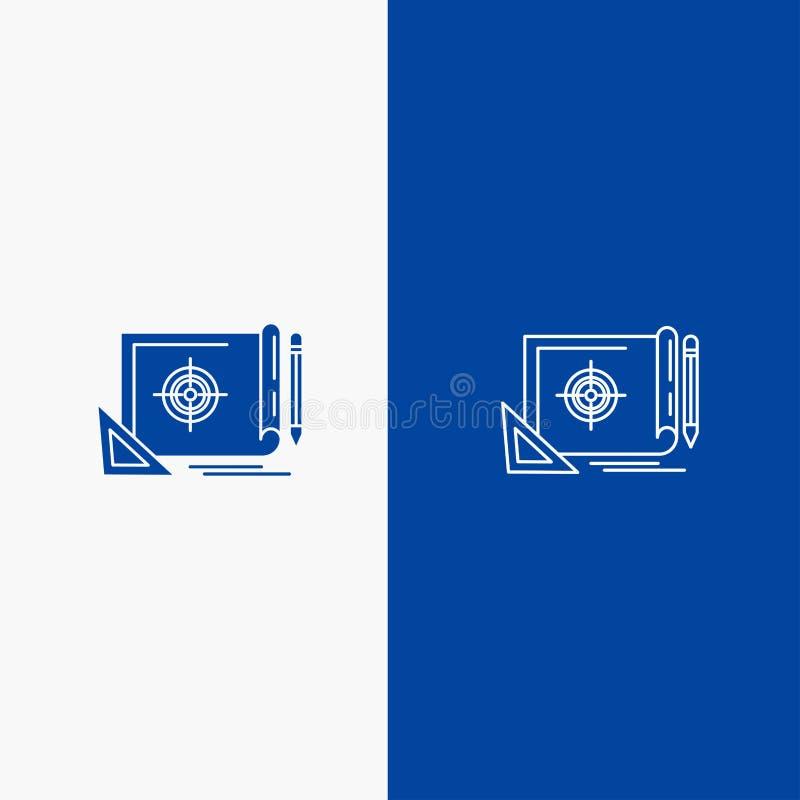Bandera azul de bandera del icono sólido del logro, del fichero, de la blanco del fichero, del márketing, de la línea de blanco y libre illustration