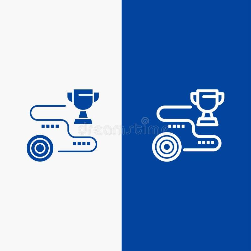 Bandera azul de bandera del icono sólido del logro, de la blanco, del éxito, de la trayectoria, de la línea del triunfo y del Gly ilustración del vector