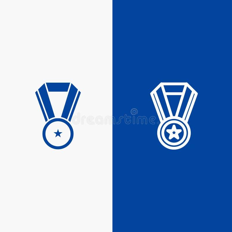 Bandera azul de bandera del icono sólido del logro, de la educación, de la línea de la medalla y del Glyph del icono sólido azul  ilustración del vector