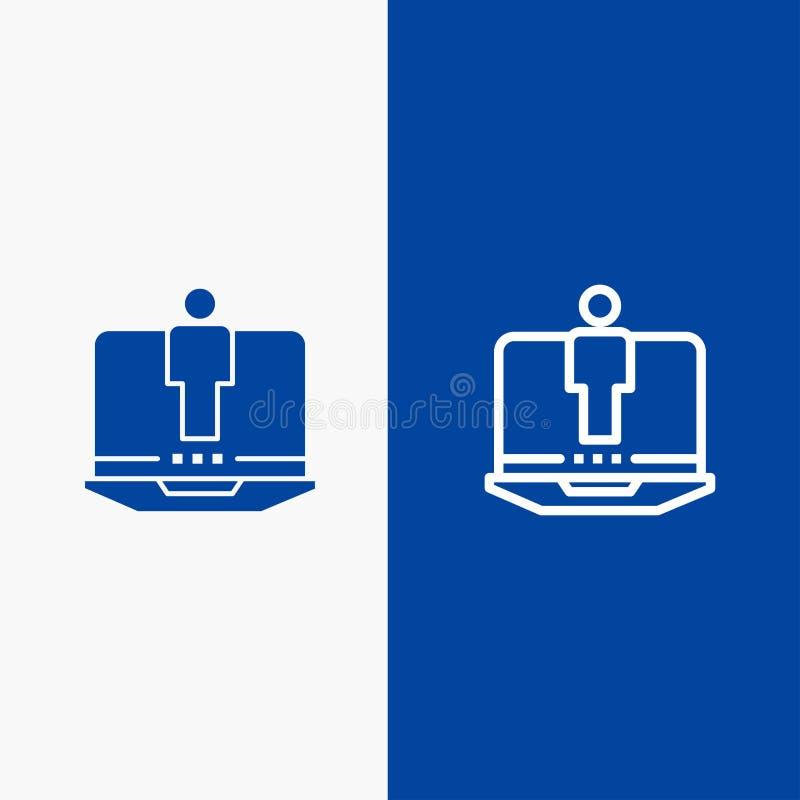 Bandera azul de bandera del icono sólido del ordenador portátil, del ordenador, del hardware, de la línea de servicio y del Glyph libre illustration