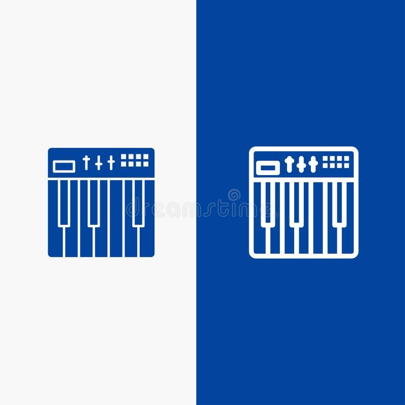 Bandera azul de bandera del icono sólido del regulador, del hardware, del teclado, de Midi, de la línea de la música y del Glyph  ilustración del vector