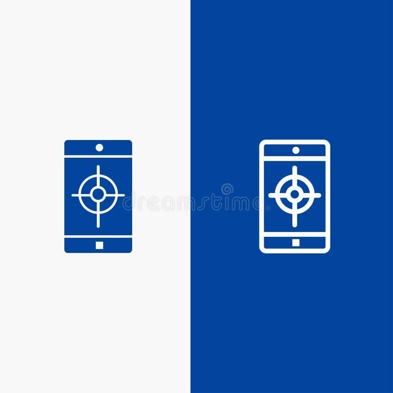 Bandera azul de bandera del icono sólido del uso, del móvil, de la aplicación móvil, de la línea de blanco y del Glyph del icono  stock de ilustración