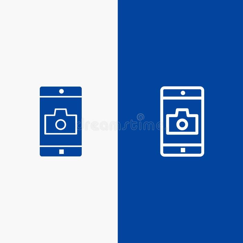 Bandera azul de bandera del icono sólido del uso, del móvil, de la aplicación móvil, de la línea de la cámara y del Glyph del ico libre illustration