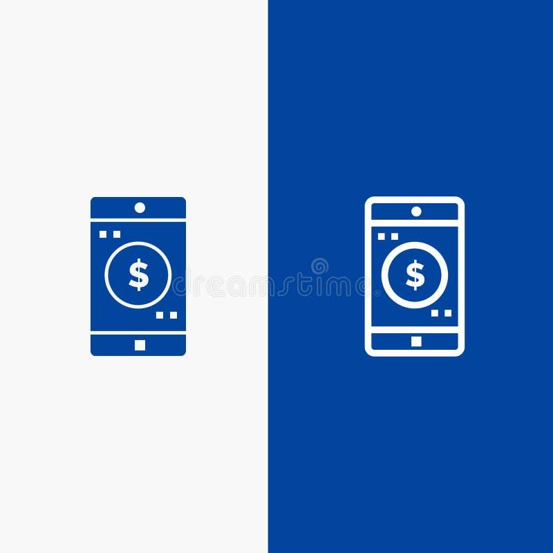 Bandera azul de bandera del icono sólido del uso, del móvil, de la aplicación móvil, de la línea del dólar y del Glyph del icono  ilustración del vector