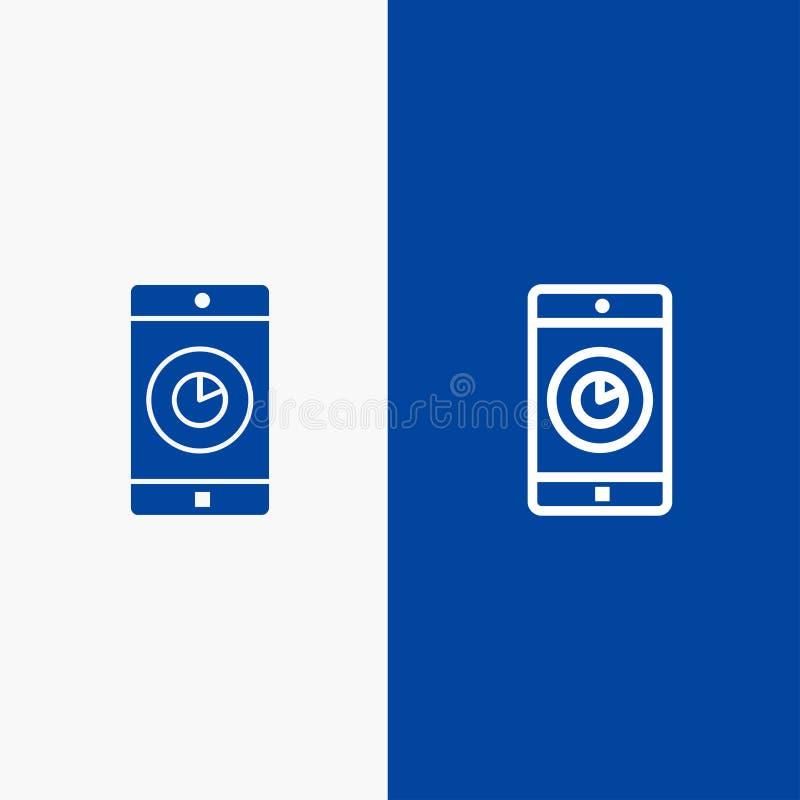 Bandera azul de bandera del icono sólido del uso, del móvil, de la aplicación móvil, de la línea de tiempo y del Glyph del icono  libre illustration