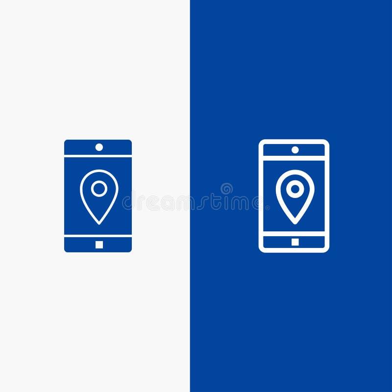 Bandera azul de bandera del icono sólido del uso, del móvil, de la aplicación móvil, de la ubicación, de la línea del mapa y del  ilustración del vector