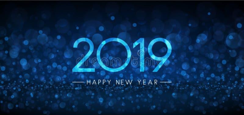 Bandera azul de la Feliz Año Nuevo del bokeh 2019 libre illustration
