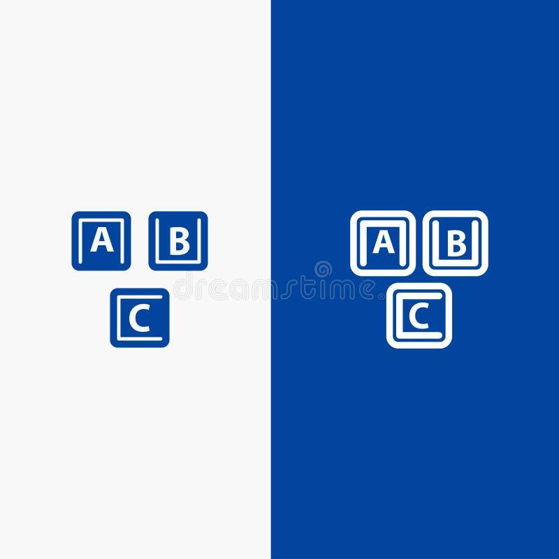 Bandera azul del ABC, de los bloques, básica, del alfabeto, de la línea del conocimiento y del Glyph del icono sólido ilustración del vector