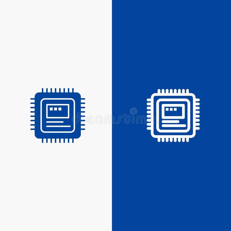 Bandera azul del icono sólido de la CPU, del almacenamiento, del ordenador, de la línea del hardware y del Glyph libre illustration