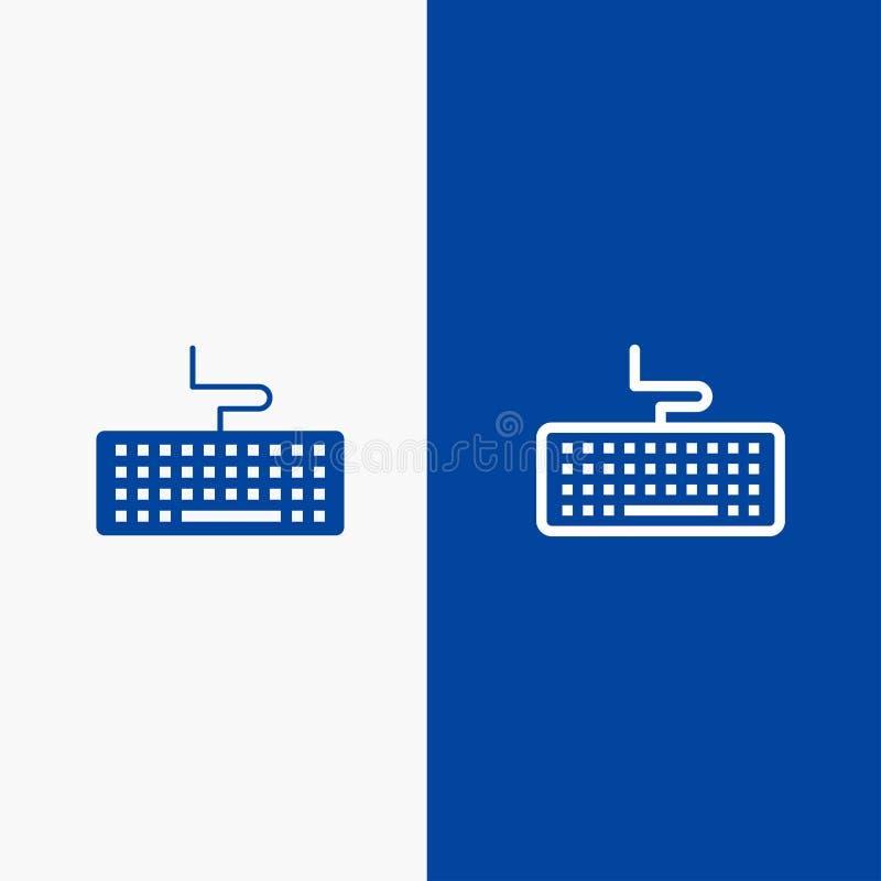 Bandera azul del icono sólido de la llave, del teclado, del hardware, de la línea de la educación y del Glyph stock de ilustración