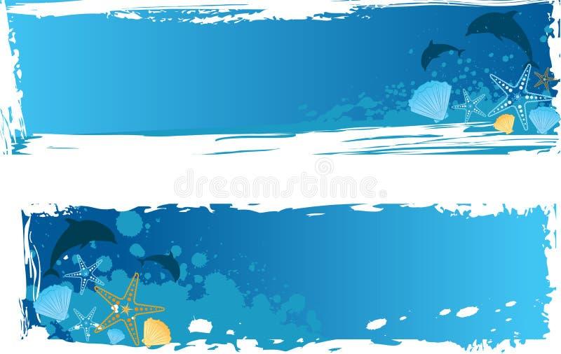 Bandera azul del mar del grunge ilustración del vector