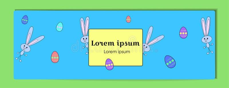 Bandera azul horizontal del vector para Pascua feliz con huevos pintados y un conejo Conejito y huevos de la historieta con un es ilustración del vector